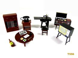 Wholesale Plastic Dollhouses - Set of 6 Vintage Dollhouse Miniature Japan Furniture Fridge Magnet Figure Toy model Telephone TV Record player Cupboard Table Sewing machine