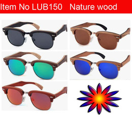 Wholesale Sunglasses Oem - Wholesale vintage Wood sunglasses women& men bamboo high quality beach eyewear Christmas OEM eyeglasses UV400 protection Free shipping