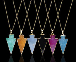 Wholesale Natural Amethyst Point Pendant - Natural Stone Quartz Healing Point Chakra Gemstone Gold Plated Triangle Pendant Necklaces Agate Amethyst Colorful Necklace Jewelry A295