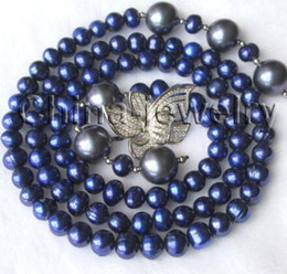 """Wholesale 14mm Freshwater Pearls - Free Shipping ** Details about 33"""" 8-9mm blue round freshwater pearl & 14mm south sea shell pearl necklace"""