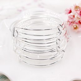 Wholesale Hot Selling Gifts - Hot selling silver gold tone expandable wire bangle bracelet for beading or charm bracelets bangle 100 pieces lot wholesale