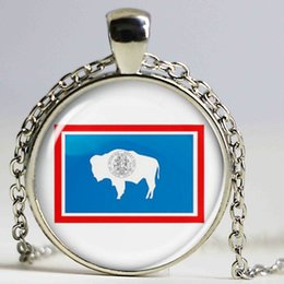 Wholesale Christmas Jewellry - DIY Jewellry Vintage Handmade Necklace United States Wyoming Flag Pendant