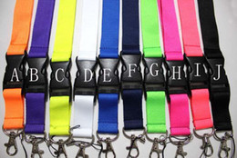 Wholesale keychain id card holder - 30pcs Mix Solid color ID Card Lanyard Badge wholesale NECK Lanyard Lanyards Strap Keys ID holder Keychain mixed