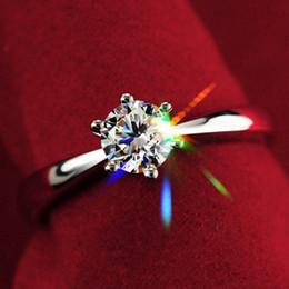 Weißgold cz engagement online-Nie verblassen 1.0ct S925 Silber Verlobungsring Anel 18 Karat echtes Weißgold vergoldet CZ Diamant Ehering Frauen