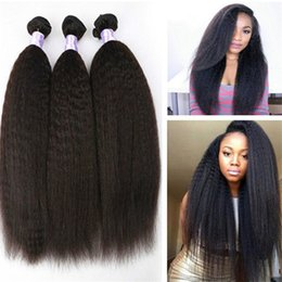 Wholesale Coarse Yaki - Brazilian Virgin Human Hair Afro Kinky Straight Coarse Yaki Hair Weft 3pcs Mix Length Free Shipping