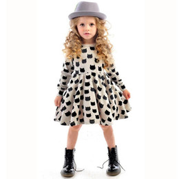 Wholesale tight stretch dresses - 2017 girls new dress European and American children's clothing black cat pattern printing stretch tight skirt skirt