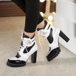 Wholesale Chunky White Boot - sexy High Heels Fashion high quality~genuine leather heel metal short boots black white silver runway designer punk fashion luxury designer