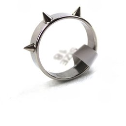 Wholesale titanium cone - Hot Sale Titanium Stainless Steel Man Rings Punk Spike Rivet Cone Coyotes Women's Ring Jewelry