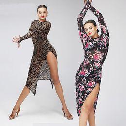 Wholesale Ballroom Skirt Long - 2017 Sexy Leopard Dress Sasa Latin Rumba Dance Ballroom Samba Skirt Costume competition wear long sleeved clothes and Latin printing dress