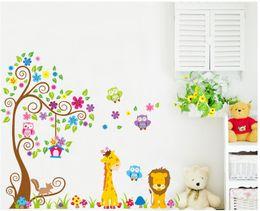 Wholesale Wallpaper Cartoon Owl - Cartoon DIY Owl Giraffe Animals Removable Wall Sticker Cute Lion PVC Decal Stickers Wallpaper For Kids Baby Nursery Room Home Decoration