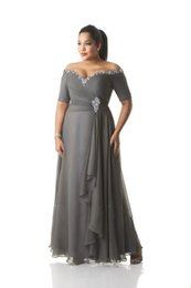 Wholesale Shirt Sequins - Custom Made Plus Size Dresses Evening Wear Bead Sequins Off-Shoulder Ruched Gray Chiffon Prom Dress Mother Of The Bride Gowns Ankle