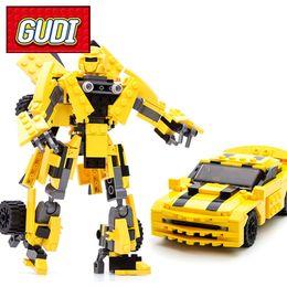 Wholesale Toy Robot Assemble - GUDI 8711 Robot Yellow Car Blocks 225pcs Bricks Building Blocks Set Assembled Models Educational Toys For Children