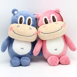 Wholesale Hippo Toys - cute hippo plush toy doll creative large hippo pillow girls favorite animal modeling doll birthday gift wedding free shipping