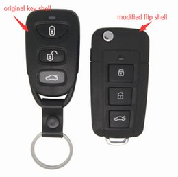 Wholesale Hyundai Key Case - Fob Replacement Case 3 Buttons Modified Flip Floding Remote Key Shell Blank Key Cover Fit For Hyundai Sonata NF +Free Shipping