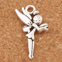 Wholesale Fairy Christmas - Flying Tinker Bell Fairy Charms Pendants 200Pcs lot Hot sell Antique Silver Jewelry DIY 25x13.6mm L130