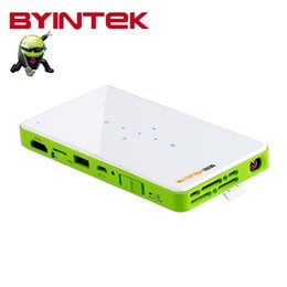 Wholesale Portable Projector For Iphone - Wholesale-2016 BYINTEK New Home Theater Mini Portable Video Movie Built-in Battery Bluetooth DLP LED HDMI Projector for Iphone Android