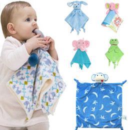 Wholesale Unisex Comforters - 9 Styles Kids Toys Christmas Gifts Stuffed Frog Animals Calm Towel Kids Plush Elephant Comforter Toys Calm Towels For Kids CCA8074 50pcs