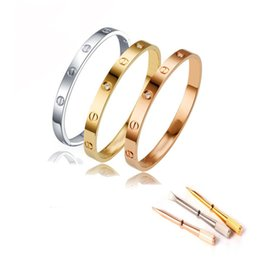 Wholesale 14k Cubic Zirconia - Unisex Stainless Steel Fashion Jewelry Love Bracelet Bangle With Screwdriver
