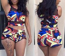 Wholesale Top Sexy Net - 2017 NEW ARRIVAL SEXY WOMEN Net yarn SWIMSUIT COLORFUL PRINT BIKINIS HIGH WAIST CROP TOP BATHING SUIT