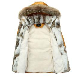 Wholesale Mens Rabbit Coats - Wholesale- Men Winter Coat Fur Collar Duck Down Parka Jackets Mens Puffer jacket With Fur Hood Rabbit Deisgner Warm Coats Brand Women 2016