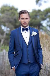 Wholesale Wool Coat Design White - New arrival Customize made Blue Men Suits Tuxedos Wedding Suits for Men Dress Shawl lapel Latest Coat Pant Designs(Jacket+Pants+Vest)
