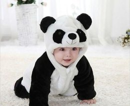 Wholesale Panda Halloween Costume - 2016 New Cute Animal Panda One Piece Long Sleeve Cotton Newborn Baby Romper Baby Costume Clothing Clothes