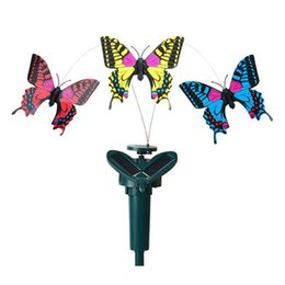 Wholesale butterfly garden toy - Simulation Butterfly Solar Remote Control Assembling Novelty Kid Toys Home Garden Decor Revolving Butterflies Creative Gift Hot 8cg F R