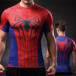 Wholesale Digital Print Tops - spiderman 3D digital print short sleeve t shirt Captain America 3 sport tight tops men quick dry fitness Crossfit shirt