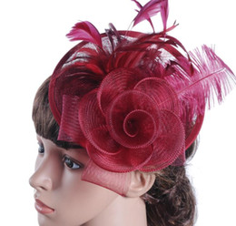 Wholesale Hair Color Yarn - hot sale European ladies hat Ma yarn ostrich hair material Western banquet hat wedding headdress free shipping