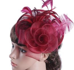 Sıcak satış Avrupa bayanlar şapka Ma iplik devekuşu saç malzeme Batı ziyafet şapka düğün headdress ücretsiz kargo nereden mevsim kılları tedarikçiler