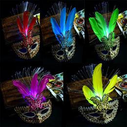 Wholesale Leopard Halloween Mask - 2017 New Flashing Leopard Fiber Feather Masks Light-Up Venice Princess Mask Women Girls Halloween Dance Party Supplies