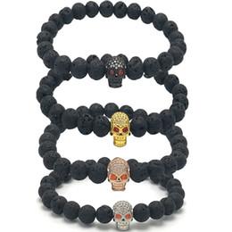 Canada 8mm Lava Rock Pierre Rouge Yeux Diamant Crâne Bracelet Pierre Naturelle Brins Huile Diffuseur Bracelet Pour Mode Bijoux Artisanat B365S Offre