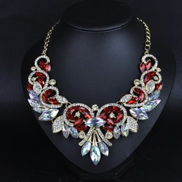 Wholesale Turkish Chains Gold - 2017 Fashion Spring Colorful Crystal Women Brand Maxi Statement Necklaces& Pendants Vintage Turkish wedding Jewelry choker Necklace Pendant
