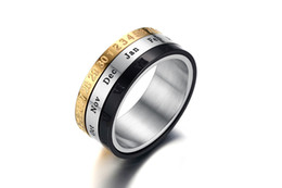 Wholesale roman numerals numbers - Spinner Roman Numerals & Date Number Ring Fashion Trendy Jewelry Stainless Steel Band For Men bague homme Size 7-12