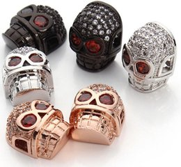 Wholesale Skull Connector Beads - Micro Pave CZ Skull Rhinestone Crystal Mosaic Beads for Bracelets DIY Jewelry Making Rhodium Rose Gold Gunblack