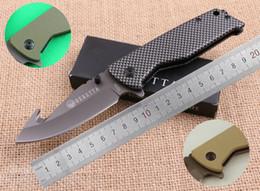 Wholesale Carbon Models - SAMIOR 3 Models X23 Knives Drop Point With Guthook Flipper Knife Coated Gray Blade Green Desert Carbon fiber pattern Handle Folding Knives