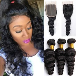 Wholesale Hair Weavs - Malaysian Loose Wave Top Quality 4X4 Lace Closure With Human Hair Bundles Dyeable Malaysian Virgin Hair Human Hair Weavs