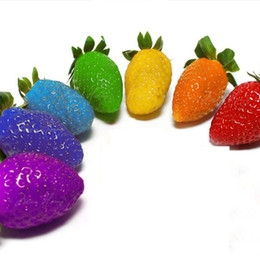 Wholesale Wholesale Seeds Fruits Vegetables - 50 PCS Rainbow Strawberry Fruit Seeds Multicolor Rainbow Strawberry Fruit Seeds Courtyard and Garden Green Fruits and Vegetables