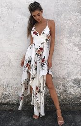 Wholesale Bohemian Clothes - fashion bohemian summer sexy deep v neck long maxi dress floral print casual loose sleeveless elegant boho beach dress white women clothing