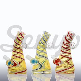 Wholesale Glass Swirl - 2017 mini heady Glass Diamond with Circles Swirls Glass Bong water pipes oil rigs free shipping