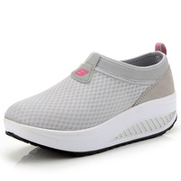 Wholesale Platform Trainers - Wholesale- New Slip on Women Casual Shoes Summer 2016 Breathable Mesh Platform Wedge Swing Shoes Outdoor Trainers Zapatillas Mujer