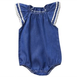 Wholesale Blue Dress Suit Kids - Newborn Baby Girl Rompers Dress Boutique Girls Clothes Next Kids Suit Blue Ruffle Infant Onesies Personalised Jumpsuit Toddlers Leotards