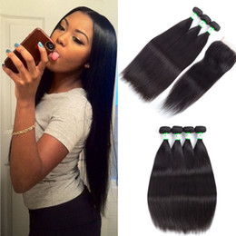 Wholesale Soft Wave Brazilian Hair Weave - Malaysian straight human full lace closure with 3 4 bundles hair weaves silky & soft Malaysian straight human hair bundles with lace closure