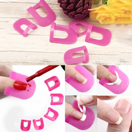 Wholesale French Tip Manicure Tool - Professional Pink French Nail Manicure Sticker Tips Varnish Cover UV Gel Apply Polish Protector For Salon Tools