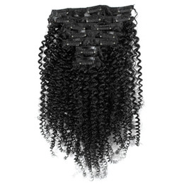 Wholesale American Curls Hair - African American Afro Kinky Curl Clip In Hair Extensions 7PCS 16 Clips Peruvian Human Hair Natural Black Kinky Curly Clip In Hair Extensions