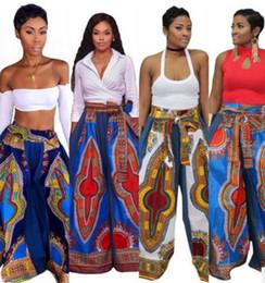 Wholesale Palazzo Flare Pants - 2017 new women wide leg pants Casual High Waist Flare Palazzo Trousers Boho Vintage ladies Dashiki Leggings M-2XL