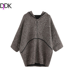 Wholesale Womens Long Length Coats - Wholesale- DIDK Casual Womens Sweaters Fashion Autumn Coffee Three Quarter Length Batwing Sleeve Zipper Up Hooded Sweater Coat