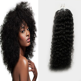 Wholesale Extension Hair Curly Micro - Human hair extensions Afro kinky curly micro link human hair extensions black 100g brazilian kinky curly micro bead hair extensions 100s