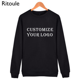 Wholesale Wholesale Branded Sweatshirts - Wholesale- Ritoule Custom Men Sweatshirt Long Sleeve Blank Solid Printed Mens Hoodies Hip Hop xxxl Harajuku Brand-clothing