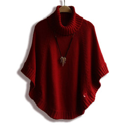 Wholesale Korean Women Knit - Wholesale-2015 Winter Women Turtleneck Pullover Korean Fashion Plus Size Loose Batwing Sweater Ladies Knitted Ponchos and Capes Coat 0498